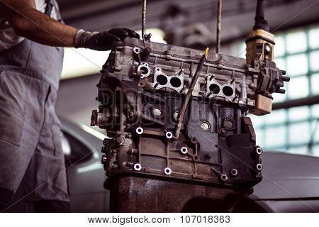 Car Engine At Mechanic