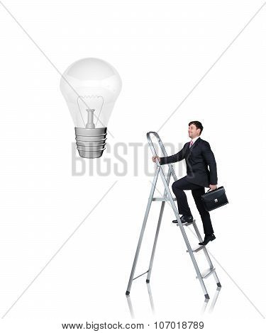 businessman rises on the stairs