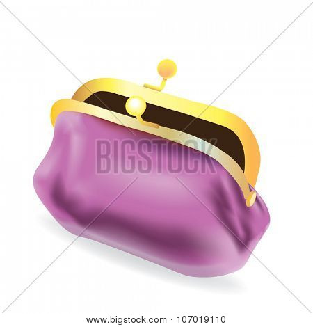 vector purple purse on white background
