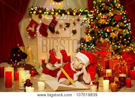 Christmas Kid Write Wish List, Child In Santa Claus Hat Writing Letter, Holiday Room