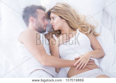Couple Having Sensual Foreplay