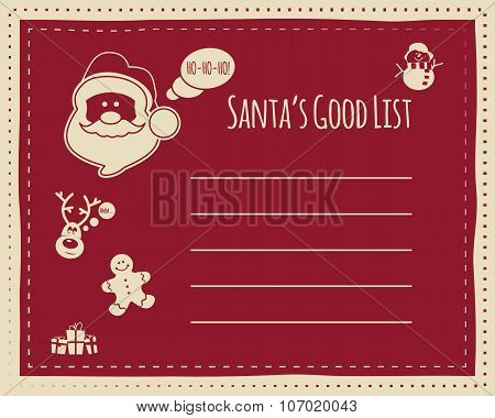Santa's good list background concept for kids, with space for text. Funny characters included - snow