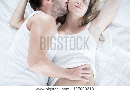 Man Touching Softly His Wife