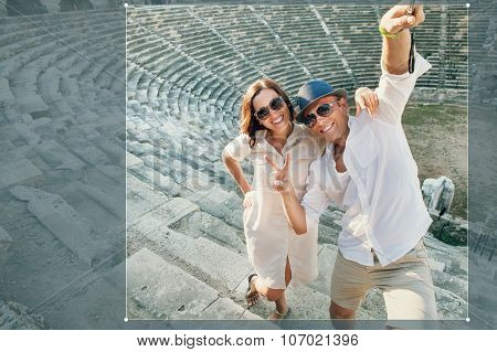 Funny Couple Take A Selfie Photo In Antique Amphitheatre In Side, Turkey