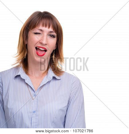 Closeup portrait of business woman winking, isolated on white