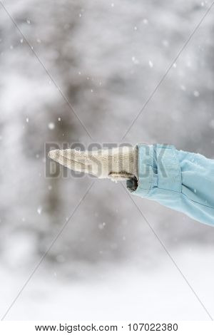 Closeup Of Female Hand In Woollen Glove Catching Snowflakes