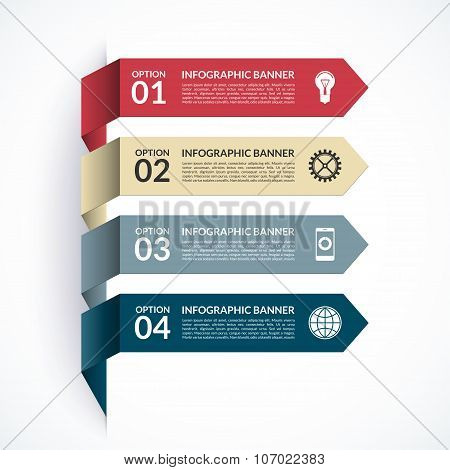 Arrow infographic banner. Can be used for workflow layout, web design, printed materials. Vector design template with 4 steps, options, parts