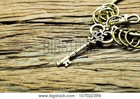 Vintage Key On Wood Background