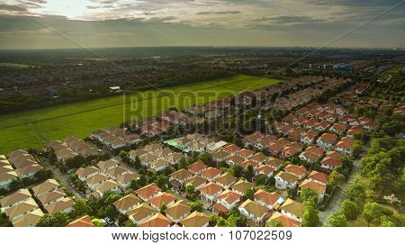Aerial View Of Good Environmental Home Habitat Area In Out Skirt Of Bangkok Thailand
