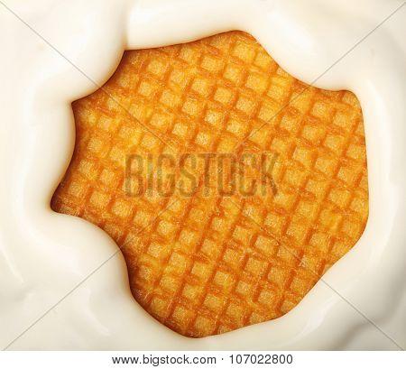 Soft ice cream over waffle texture closeup