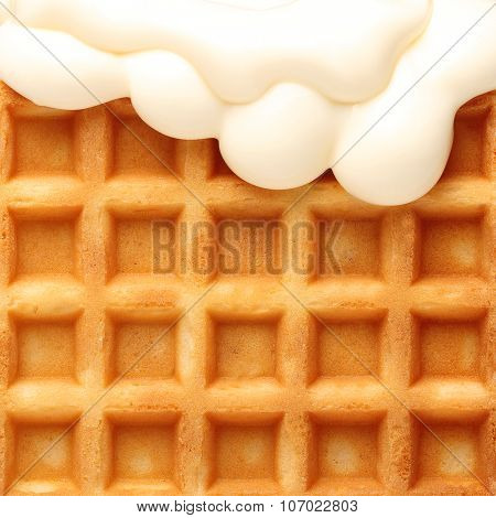Belgian waffles with soft  ice cream texture closeup