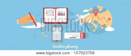 Vacation Planning Icon Flat Isolated Round
