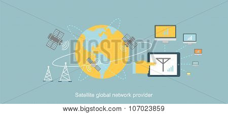 Satellite Global Network Provider Icon Flat