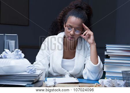 Girl Learning At Night