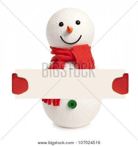 Happy snowman presenting empty banner on white background