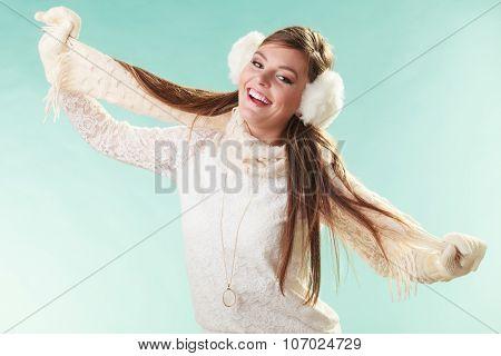 Smiling Cute Pretty Woman Girl In Earmuffs.