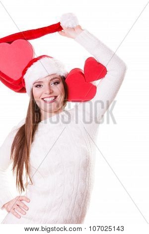Happy Girl In Santa Hat Heart Shaped Box
