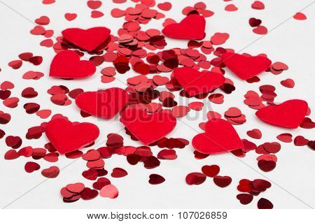 Red Hearts Confetti And Fabric Heart