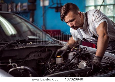 Car Inspection At Mechanic Shop