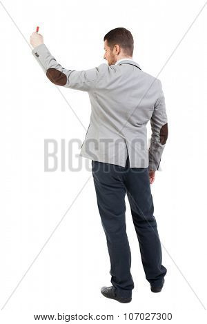 Back view  of business man showing a sign board. young man holds information plate. Rear view people collection. backside view of person.  I
