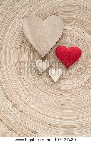 Valentine's Wooden Hearts On A Retro Background