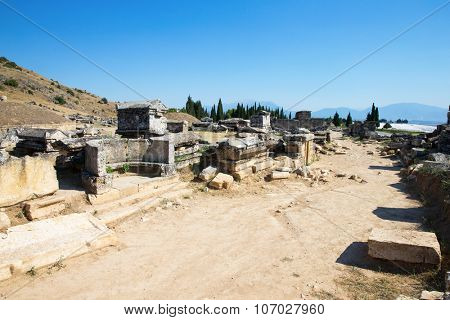 Ancient ruins in Hierapolis, Pamukkale, Turkey. The site is a UNESCO World Heritage site