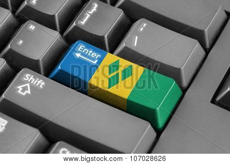 Enter Button With Saint Vincent And The Grenadines Flag