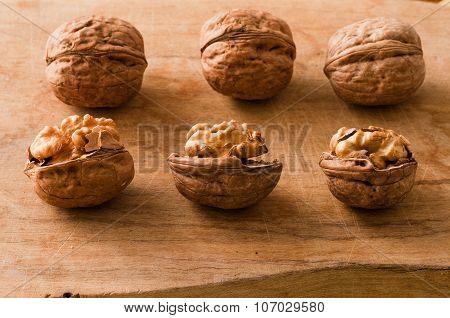 Walnuts On A Cutting Board