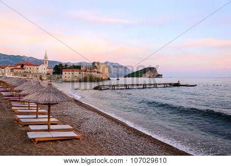 The beach near Old town at sunset, Budva, Montenegro