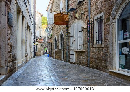 Old Town Street In The Early Morning, Budva, Montenegro