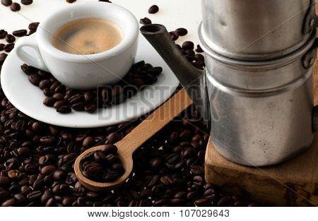 White Cup With Old Neapolitan Coffee