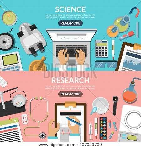 Science and research flat vector backgrounds set