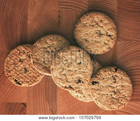 Cookies on brown wooden background
