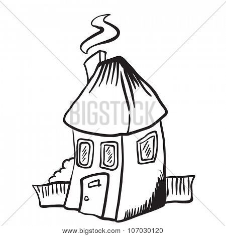 simple black and white little house isolated cartoon