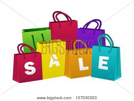 Set Of Colorful Shopping Bags. Sale, Discount Theme. Vector Illustration