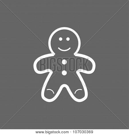 Icon Christmas gingerbread man for holiday season
