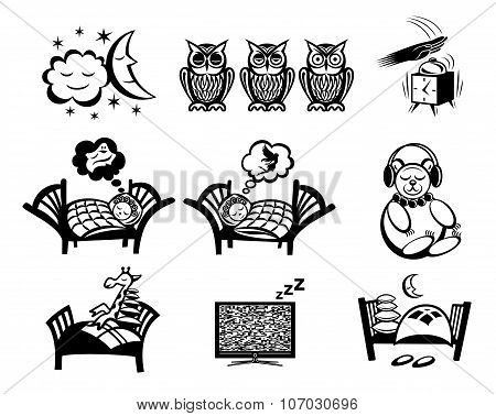 Sleep icons. Sleep icons vector. Sleep icons illustration. Sleep icons set. Sleep icons collection. Sleep set. Sleep icons black. Sleep icons simple. Sleep icons isolated