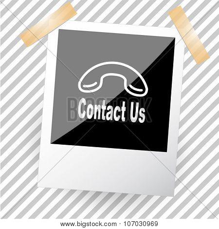 contact us. Photoframe. Vector icon.