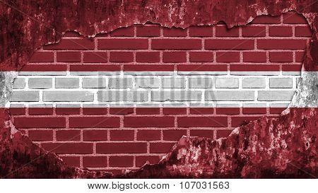 flag of Latvia, Latvian flag painted on brick wall