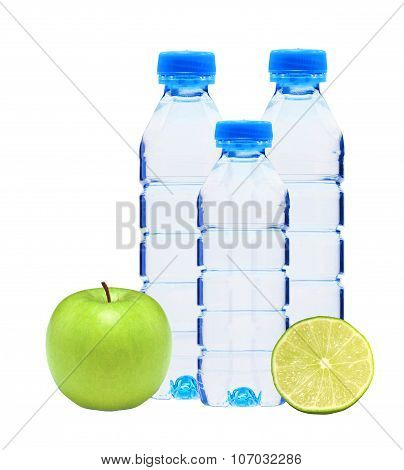 Blue Bottles With Water, Lime And Green Apple Isolated On White