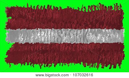flag of Latvia, Latvian flag painted with brush on solid background, paint texture