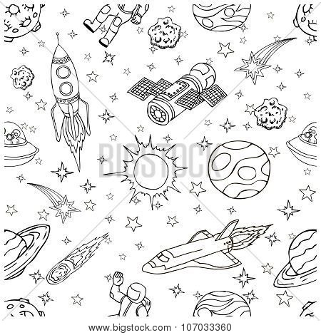 Outer Space doodles, symbols and design elements. Cartoon space icons. Hand drawn vector illustratio