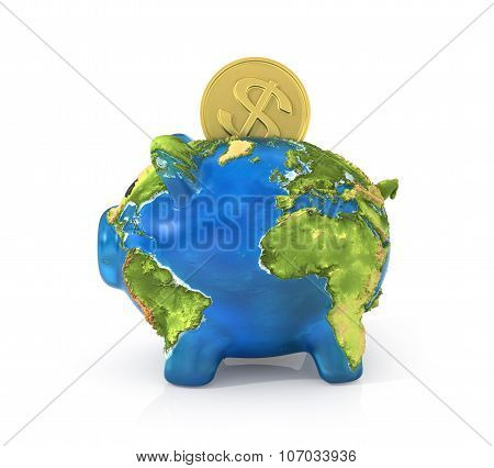 Concept Of Saving Enviroment Nature. Moneybox In The Form Of Pig In Earth Texture With Falling Coin