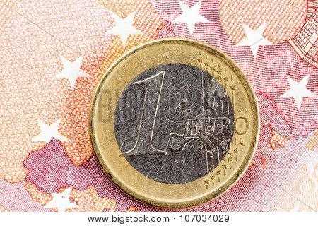 Euro Coin On Europe Map
