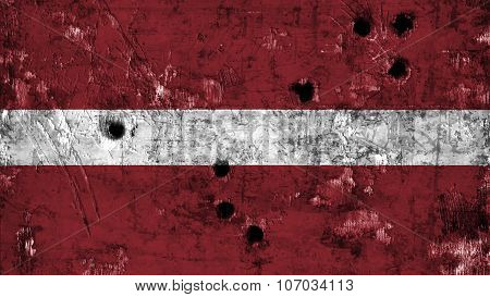 flag of Latvia, Latvian flag painted on metal texture with bullet holes