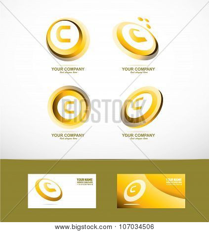 Letter C Gold Circle Set Icon