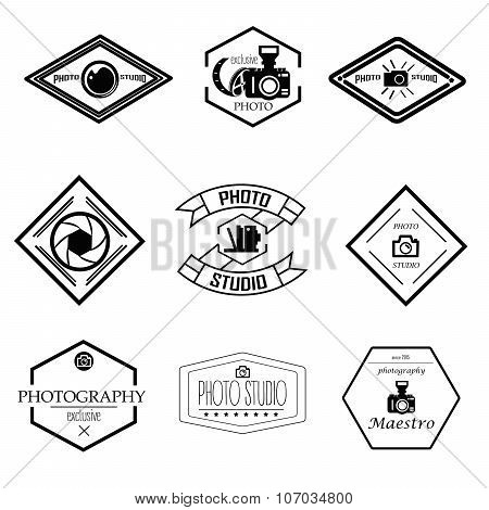 Vector set of photography and logo templates. Photo studio logotypes, design elements. Labels, emble