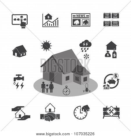 House and Real estate icons. Vector icon