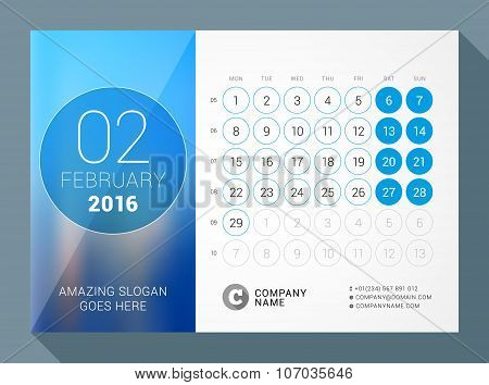 February 2016. Desk Calendar For 2016 Year. Vector Design Print Template With Place For Photo