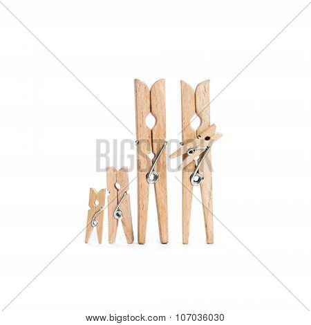 Wooden clothespins family with kids. Fathers, mothers day Concept.
